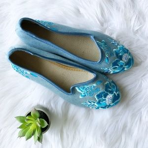 Blue Floral Embroidered Flats